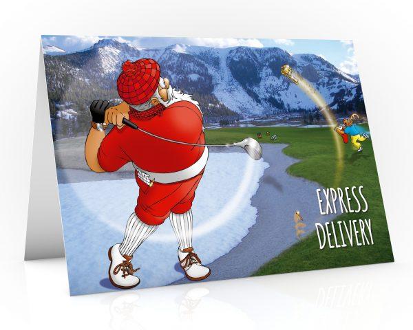 santa driving golf ball down the fairway