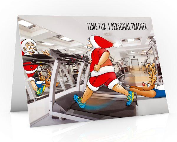gym christmas card santa running on treadmill single card
