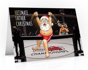 mma christmas card ufc santa up on fence single card