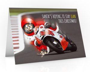 moto gp christmas card santa leaning into corner single card