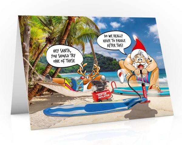 paddleboard christmas card santa inflating sup single card
