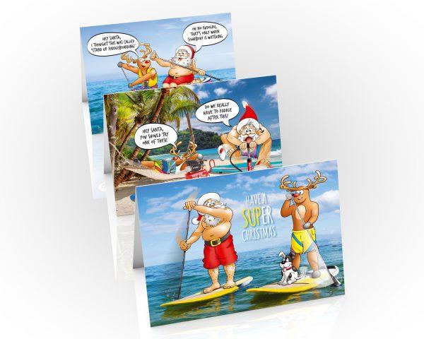 paddleboard sup christmas cards 3 card mixed pack
