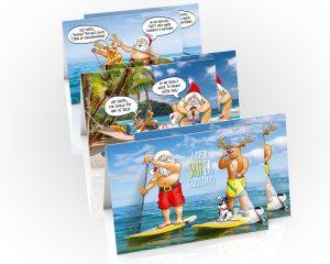 paddleboard sup christmas cards 6 card mixed pack