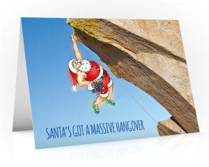 rock climbing christmas card santa hanging off a ledge single card