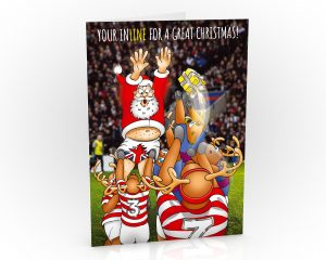 rugby christmas card santa jumping in line out single card