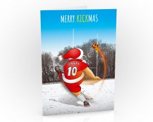 rugby christmas card santa kicking a conversion single card
