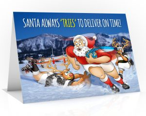 rugby christmas card santa making a try single card