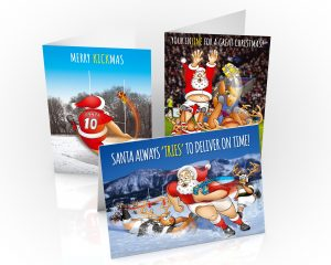 rugby chrisitmas cards mixed pack 3