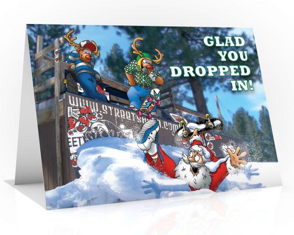 skateboard christmas card santa in half pipe single card