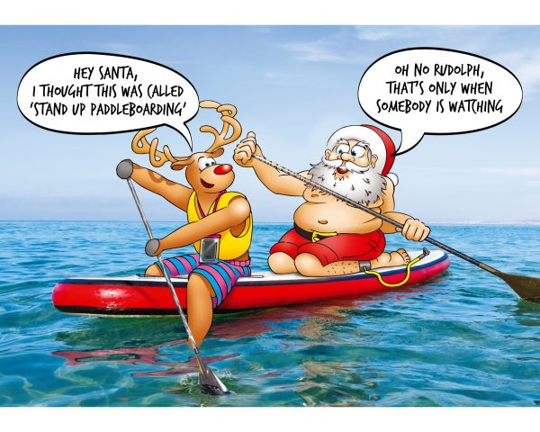stand up paddleboard christmas card sit down design single card