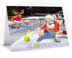 tennis christmas card rudolph drop shot