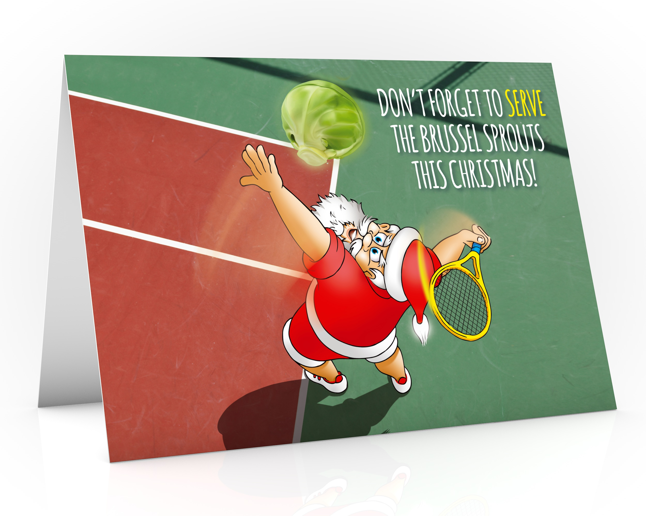 tennis christmas card with santa serving a brussel sprout