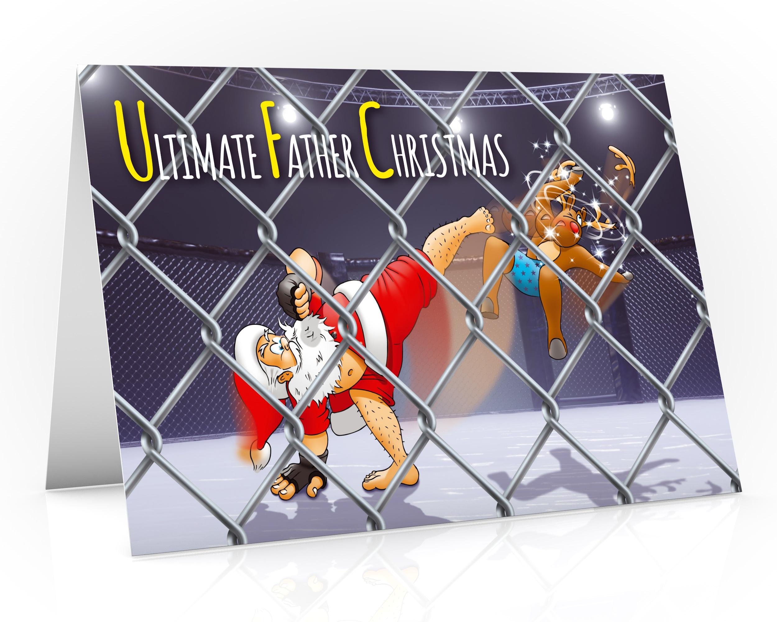 mma christmas card ufc santa karate kick single card