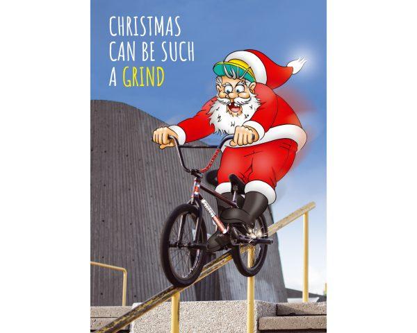bmx christmas card santa grinding hand rail single card