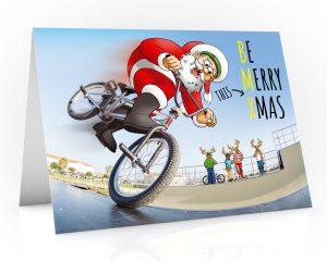 bmx christmas card santa in skate park single card