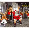 gym christmas card santa working out single card