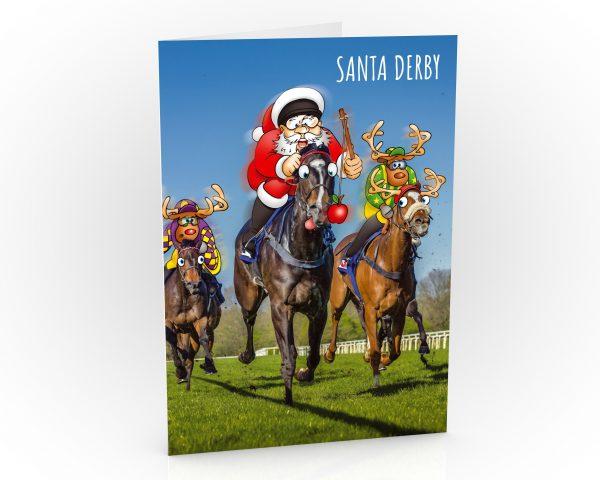 horse racing christmas card santa leading the race single card