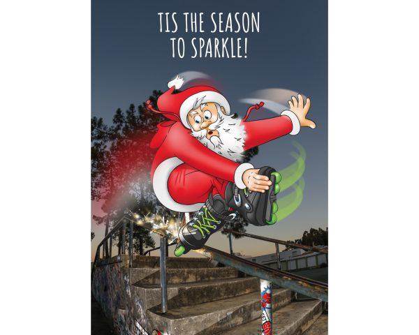 inline skate christmas card santa grinding single card