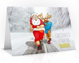running christmas card santa and rudolph training single card
