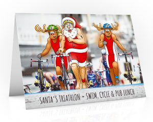 triathlon christmas card santa running with bike single card