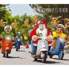 moped christmas card santa and reindeers riding on vespa and lambretta single card