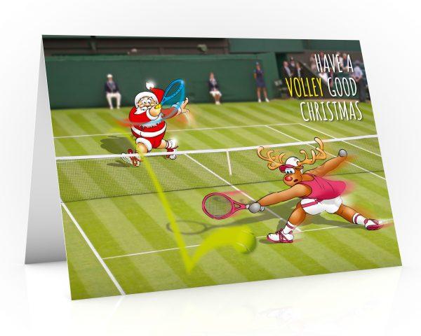 tennis christmas card santa volleys past rudolph