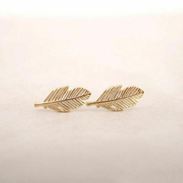 Golden feathers birds earrings