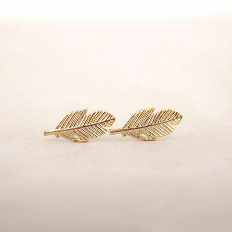 Golden feathers birds earrings