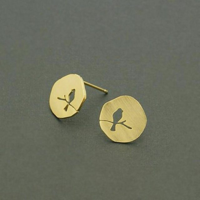 Golden small birds earrings