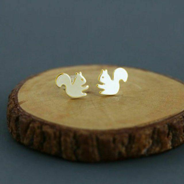 Golden squirrels earrings