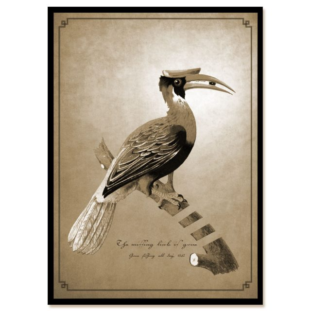 The missing link is gone in sepia color: bird on a branch