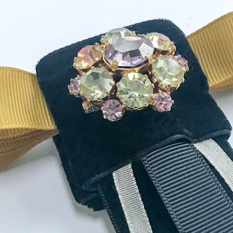 Vintage brooch colored diamonds black-velvet yellow ribbon