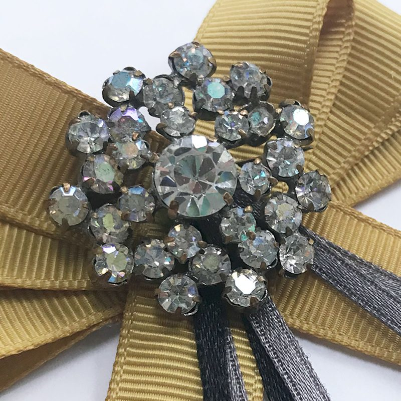 Vintage brooch diamonds yellow ribbon