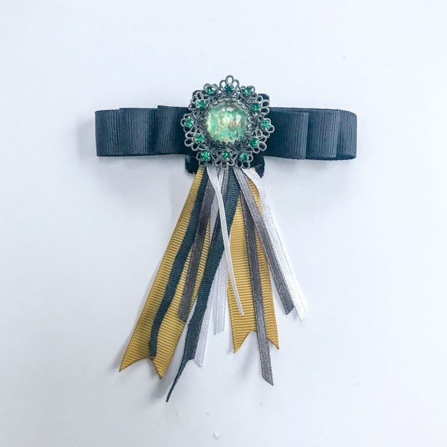 Vintage brooch green stone black velvet black grey yellow ribbons