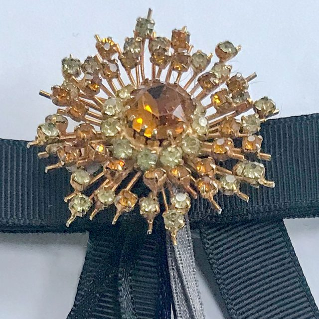 Vintage brooch orange stone black ribbon
