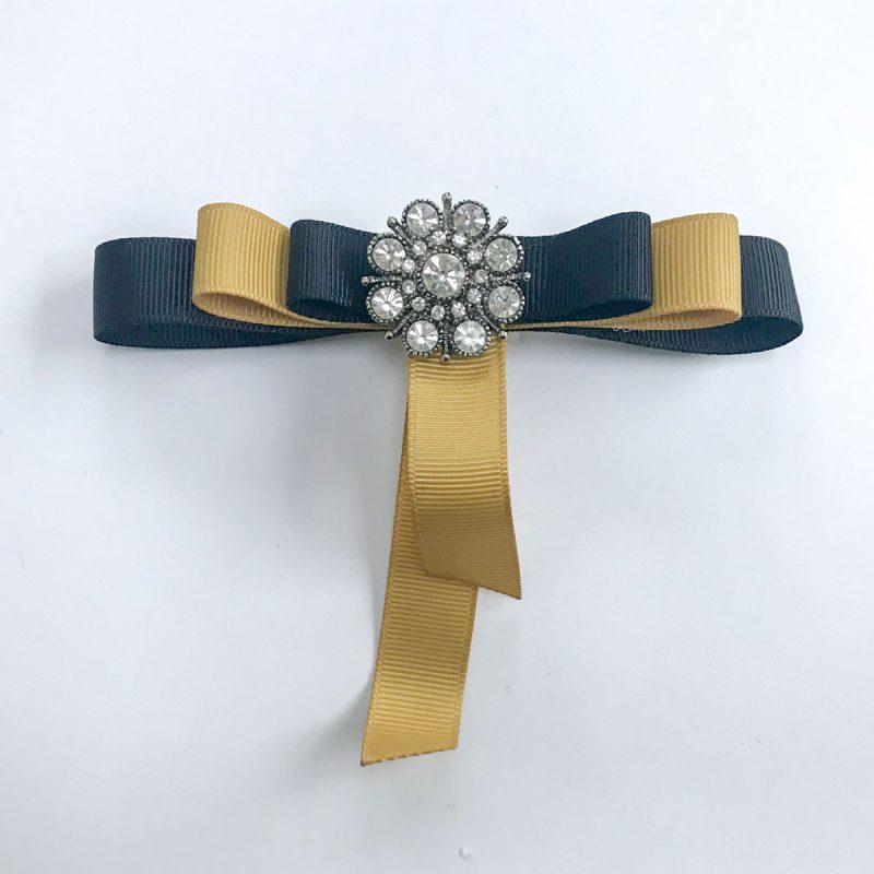 Vintage brooch small diamond yellow black ribbons