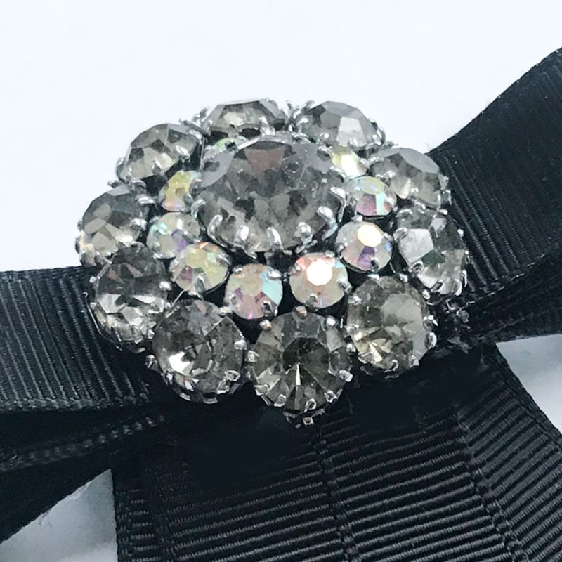 Vintage brooch white pearls diamonds black ribbon
