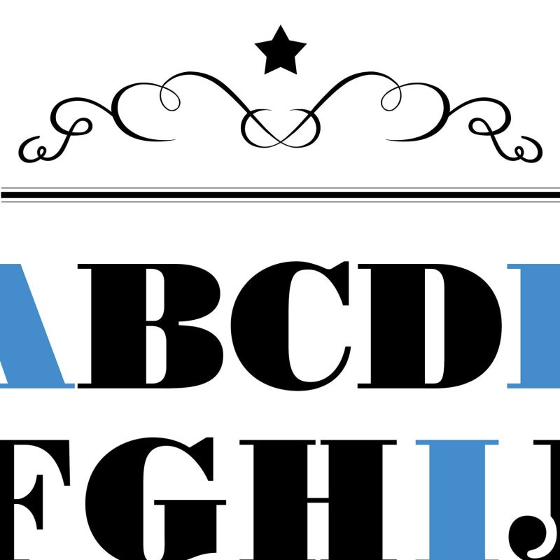 ABC med blåa vokaler - Studio Caro-lines