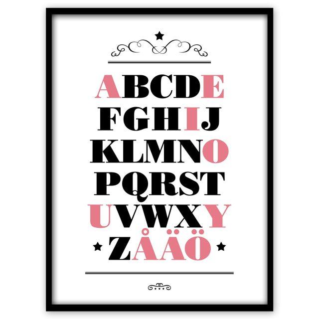 ABC med röda vokaler - Studio Caro-lines
