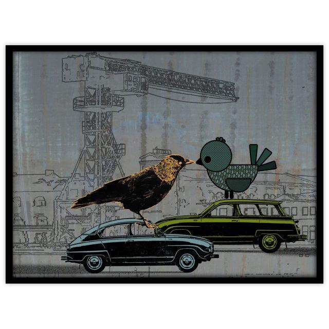Två fåglar på två bilar - Studio Caro-lines