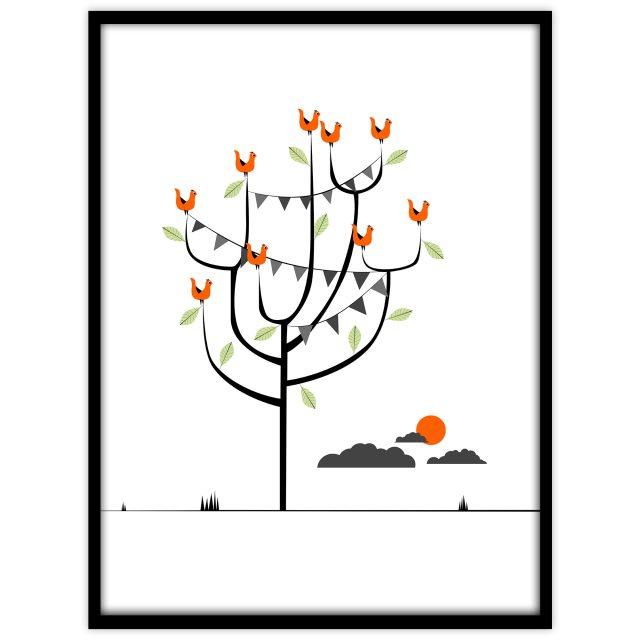 Barntavla med fåglar i ett träd