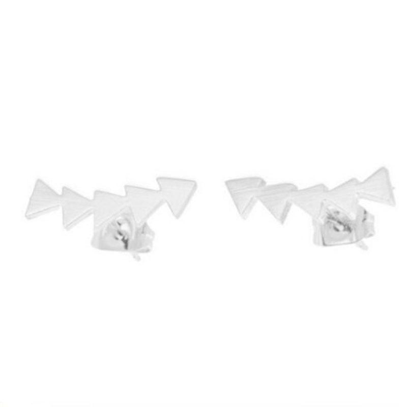 Earrings silver five silver triangles