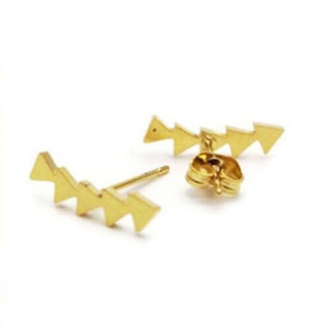 Earrings gold five triangles
