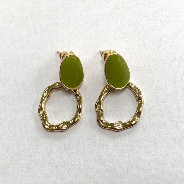 Earrings green gold