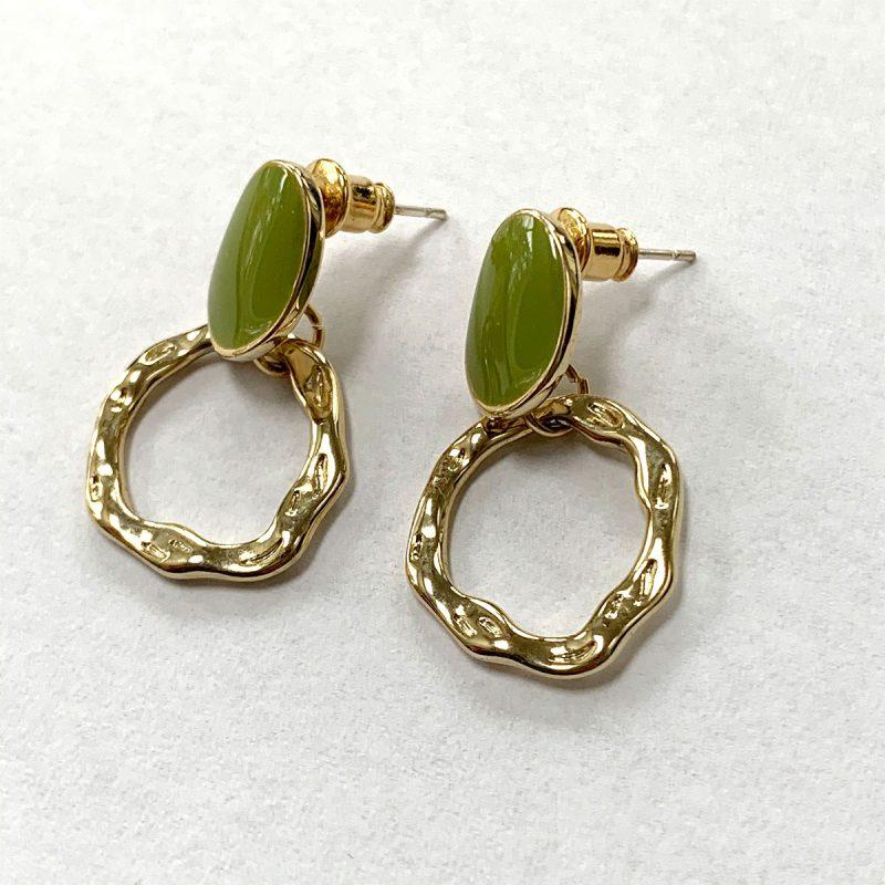 Earrings green gold