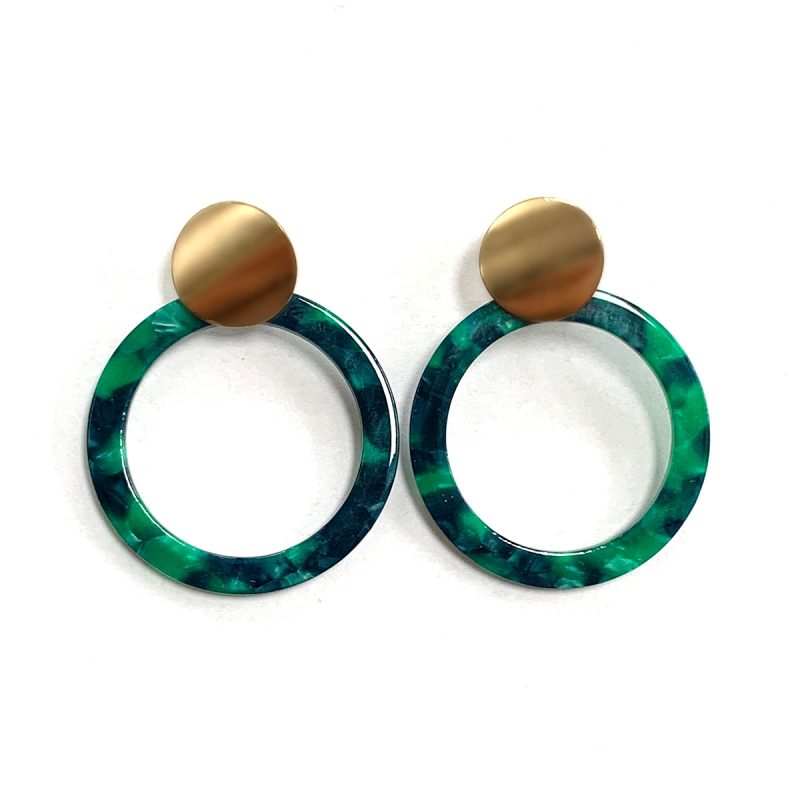 Earrings green rings