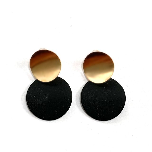 Earrings round black gold
