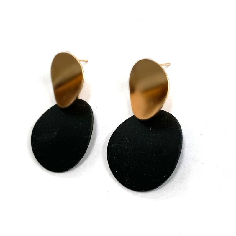 Earrings round black gold