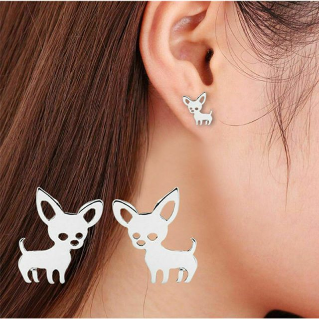 Earrings silver chihuahua