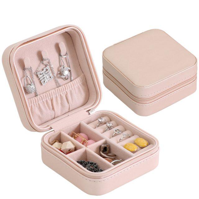 Light pink jewelry box case travel